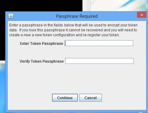 secure the token with a passphrase